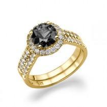 wedding photo - Black Diamond Ring, 14K Gold Ring, Double Shank Halo Engagement Ring, 1.46 TCW Black Diamond Engagement Ring, Unique Rings