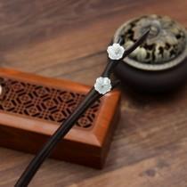 wedding photo - Hair pin,Chinese antiquity,Chinese classical,Shell Flower ,Black ebony Hair pin,hair accessory,Hair Stick,Hair Accessories,Bun Holder