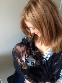 wedding photo - Black lace, Breast feeding shawl, coverup, Wedding shawl, Christening lace, four colours to choose, Made in England, FREE UK DELIVERY.