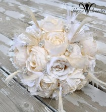 wedding photo - Bridal bouquet, Feather Brooch Bouquet, Gatsy Wedding, Wedding flowers, silk bouquet, bridesmaids bouquet
