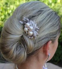 wedding photo - ON SALE Bridal Hair Comb, Crystal & Cream Blush Pearl Bridal Hair Piece, Wedding Hair Accessories, Bridal Hair Clip TALIA