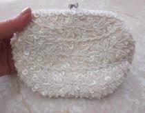 wedding photo - SALE Vintage Hand Made Beaded Pearl Sequin Bridal Handbag, Bridal, Wedding, Hand Made Beaded Bag From Hong Kong, Stunning Formal Bag
