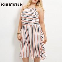 a8ebab9311 2017Plus Size women s summer new fashion color stripe loose slim fit Halter  dress - Bonny YZOZO Boutique Store