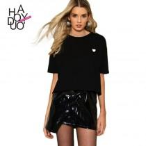 wedding photo - Must-have Oversized Embroidery High Low Heart-shape Summer Casual T-shirt - Bonny YZOZO Boutique Store
