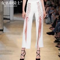 wedding photo - Split Lace Up Summer Wide Leg Pant Casual Trouser Long Trouser - Bonny YZOZO Boutique Store