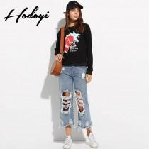 wedding photo - Vogue Simple Printed Solid Color Scoop Neck Alphabet Fall Casual 9/10 Sleeves Hoodie - Bonny YZOZO Boutique Store