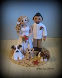 wedding photo - Wedding Cake Topper, Custom Cake Topper, Bride and Groom with Pets, Beach Theme, Personalized, Polymer Clay, Keepsake