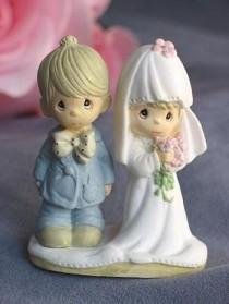 "wedding photo - Precious Moments ® ""The Lord Bless You and Keep You"" Small Wedding Cake Topper Figurine - 704418"