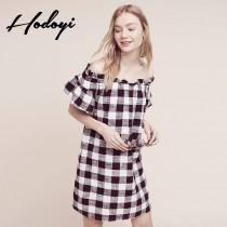 wedding photo - 2017 summer new products women's Sweet hit the color plaid sexy boat neck Strapless dress - Bonny YZOZO Boutique Store