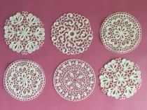 "wedding photo - Edible Sugar Lace, Tea Doilies, for Cakes, Cupcakes, Cookies, cocoa, tea,  in the ""spring doily"" design."