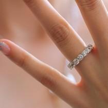 wedding photo - 3.78 ct.tw 3.75mm Wide Full Eternity Ring-U Prong Set-Brilliant Cut Diamond Simulants-Stacking Band [7704]