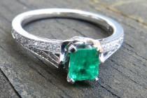 wedding photo - Emerald Engagement Ring Top Gem Quality Natural Columbian Emerald 0.80cttw Diamond Half Carat 0.50 carat Emerald 14k Platinum Ring