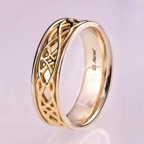 wedding photo - Celtic Wedding Band , Wedding Band, Two Tone wedding Ring, two tone Celtic ring, Two tone wedding band, mens wedding band, knot ring, 9
