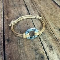 wedding photo - Waxed Cord Adjustable Bracelet with Customizable Washer