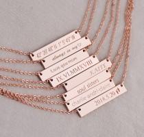 wedding photo - Bar Necklace, custom necklace, gold bar necklace, rose gold necklace, custom bar necklace, wedding date necklace, bridesmaid gift,