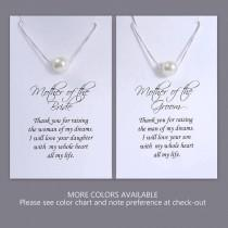 wedding photo - Mother of the Bride Gift Necklace, Mother of the Groom Gift Necklace, Floating Pearl Necklace, Swarovski Ivory Pearl Necklace, Gift for Mom