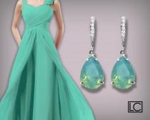 wedding photo - Pacific Opal Crystal Earrings Aqua Mint Rhinestone Earrings Sterling Silver CZ Mint Opal Swarovski Opal Bridesmaid Earrings Wedding Jewelry