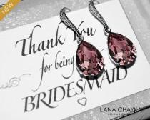 wedding photo - Antique Pink Crystal Earrings Purple Dark Pink Rhinestone Earrings Swarovski Teardrop Pink Silver Earrings Bridesmaids Wedding Pink Jewelry