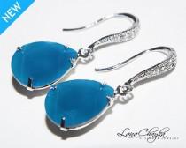 wedding photo - Caribbean Blue Opal Crystal Earrings, Swarovski Opal Earrings, Dark Turquoise Rhinestone Bridal Bridesmaid Earring Blue Opal Wedding Jewelry
