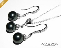 wedding photo - Black Pearl Earrings and Necklace Set STERLING SILVER Black Drop Pearl Set Swarovski 8mm Pearl Necklace&Earring Set Weddings Bridesmaids