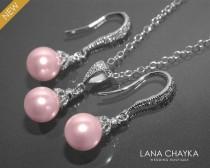wedding photo - Pink Pearl Earrings Necklace Set STERLING SILVER Blush Pink Drop Small Pearl Set Swarovski 8mm Rosaline Pearl Set Bridal Bridesmaid Jewelry