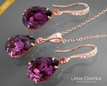 wedding photo - Amethyst Rose Gold Jewelry Set Purple Crystal Earrings&Necklace Set Swarovski Amethyst Rhinestone Jewelry Set Wedding Bridesmaids Jewelry