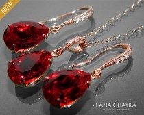 wedding photo - Red Crystal Jewelry Set Wedding Dark Red Earrings&Necklace Set Swarovski Rhinestone Sterling Silver Jewelry Set Bridesmaids Bridal Jewelry