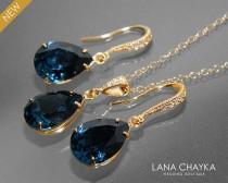 wedding photo - Navy Blue Gold Jewelry Set, Dark Blue Earrings&Necklace Bridal Set, Swarovski Montana Blue Jewelry Set, Bridesmaid Jewelry, Prom Jewelry Set