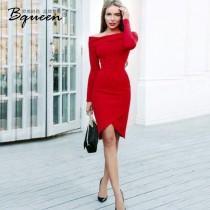 wedding photo - Irregular spring 2017 new sexy one shoulder slit skirt red slim dress - Bonny YZOZO Boutique Store