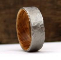 wedding photo - Whiskey Wood Ring, Jack Daniel's Ring, Whiskey Barrel Ring, Titanium Ring, Hammered Ring, Whiskey Oak, Oak Wood Ring, Handmade Wedding Ring