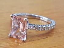 wedding photo - 3 Carat Morganite Engagement Ring With Diamonds