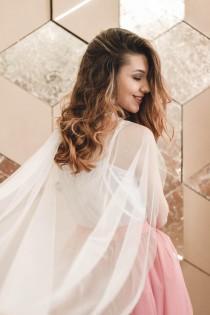 wedding photo - Crystal wedding cape, Blush wedding cape, Bridal cape, Cape wedding, Wedding veil, Wedding accessory