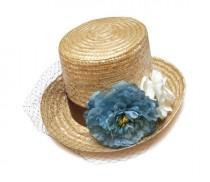 wedding photo - Kentucky derby top hat. Straw top hat. Flower top hat. Raffia hat. Spring hat. Summer hat. Wedding hat. Bridal hat. Flower fascinator.