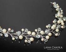 wedding photo - Pearl Bridal Hair Vine, Swarovski Ivory Pearl Hair Vine, Pearl Crystal Hair Piece, Wedding Bridal Head Piece, Crystal Pearl Hair Jewelry