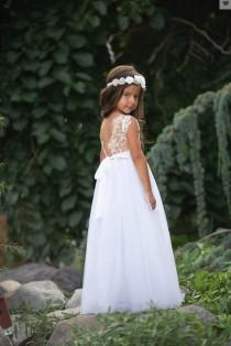 wedding photo - Bohemian flower girl dress, Flower girl dresses, girl lace dress, Rustic flower girl dress, Communion Dress, Off white lace tulle dress