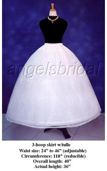 wedding photo - 3-Hoop Petticoat Crinoline Bridal Wedding Gown Dress Underskirt Skirt Slip