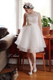 wedding photo - Short Knee Length Ivory Lace Wedding Dress - illusion neckline lace wedding party dress