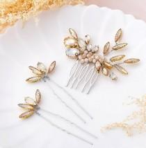 wedding photo - Bride Crystal Wedding Hair Comb with Bridal Leaves Hair Pins Wedding Hair Accessories Hair Piece for Women