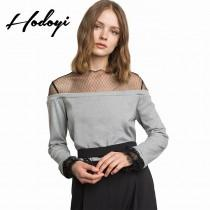 wedding photo - Vogue Sexy Split Front Solid Color Slimming Scoop Neck Tulle Fall 9/10 Sleeves Lace Hoodie - Bonny YZOZO Boutique Store