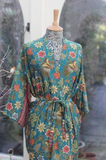 wedding photo - Silk Kimono Robe long, festival, Dressing Gown, Silk Kimono Dress, Bridesmaid Robes,Bridal Robe,festival clothing,Mango Moon