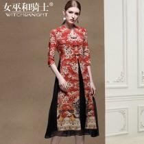 wedding photo - Ethnic Style Vintage Attractive Printed Slimming Mulberry Silk Silk Twinset Dress - Bonny YZOZO Boutique Store