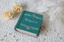 wedding photo - Engagement ring box Proposal ring box Personalized box Teal ring bearer book box  Ring bearer pillow Wooden ring box Gift for girlfriend