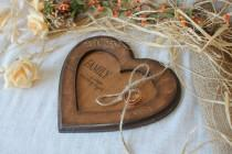 wedding photo - Personalized pillow alternative Wooden ring bearer Rustic ring box Wedding heart Wedding ring box Ring bearer pillow Rustic wedding