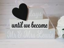 wedding photo - Personalised Wedding Countdown - Countdown Blocks - Engagement Gift - Gift For Engagement - Countdown To Wedding - Days Until Mr and Mrs
