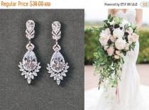 wedding photo - ON SALE Bridal earrings, Crystal teardrop earrings Vintage gold bridal earrings rhinestones, pageant earrings