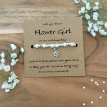wedding photo - Flower Girl Proposal Bracelet, Proposal Gift, Will You Be My Flower Girl, Ask Flower Girl, Flower Girl Gift, Bridesmaid Jewellery