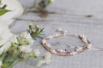wedding photo - Rose gold bridal bracelet, freshwater pearl bracelet, rose gold jewelry, bridal jewellery, layered bracelet, double layer, simple, matching