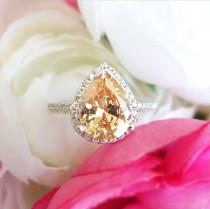 wedding photo - Sz 7.5-10.5, 2.5 ctw Pear Halo Non-Stacking Right Hand Ring, Champagne Yellow Man Made Diamond Simulants, Sterling Silver, 60% Final Sale