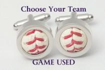 wedding photo - Game Used Baseball Cufflinks - Choose your favorite team! AL