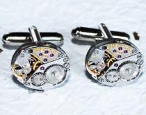 wedding photo - LONGINES Men Steampunk Cufflinks - Luxury Swiss Silver Vintage Watch Movement Steampunk Cufflinks Watch Cuff Links Men Gift Boxing Day Sale